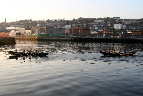 Currachs Rowing Into Cork City